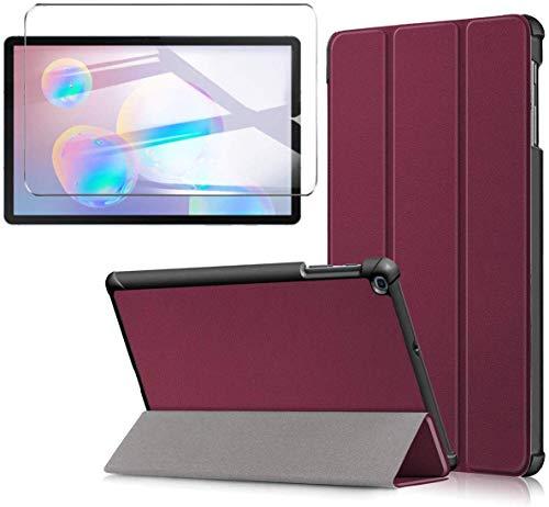 HYMY Custodia + Pellicola Protettiva per Lenovo Tab E7(TB-7104), Stand Protettivo Cover con Slot per schede,Caso Bumper Case Cover Vetro temperato, Color-Purple
