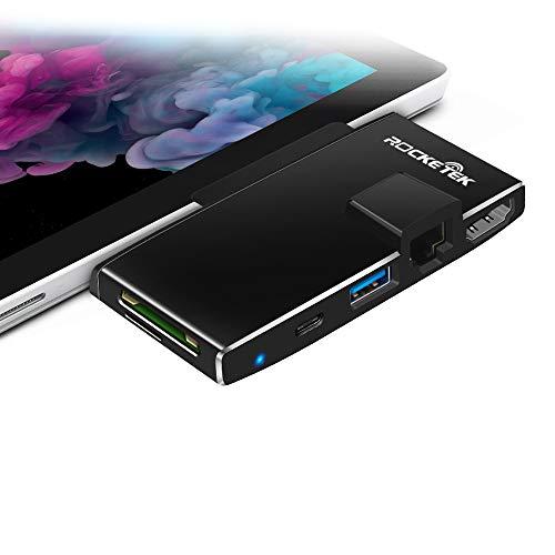 Surface Pro 7 Estación Acoplamiento, Rocketek 6 en 1 expansión concentrador con TF/SD, USB 3.0, USB C, 4K HDMI Puerto RJ45 Gigabit Ethernet LAN Adaptador convertidor para Microsoft Surface PRO7(2019)