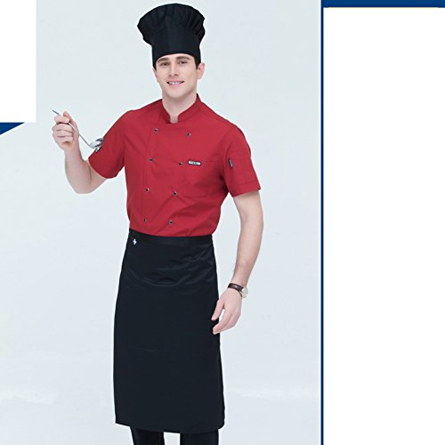 JXBoos Koch schürze,Männer-Kurzarm-Sommer-Hotel-Restaurant Berufskleidung schürze westliche küche dünnschliff atmungsaktiv schweiß Absorption koch-Q XXXL