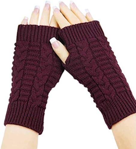 Women Man Winter Gloves Knitting Wool Fingerless Soft Warm Mitten Gloves 11.24 - (Color: Burgundy)
