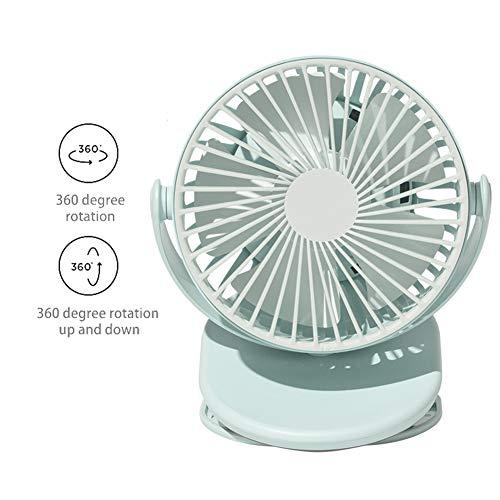 CXSMKP Aufstecklüfter Mit USB Dual Power, Liefern 720 Grad Drehung Stumm Desktop Fan, 3Geschwindigkeit Wiederaufladbar Tragbarer Ventilator USB Ventilator Mini Zum Zuhause Büro,Grün