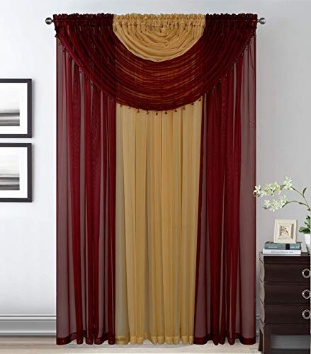 Smart Linen Complete Window Sheer Curtain All-in-One Set with 4 Attached Panels and 2 Attached Valances with Beads- Window Curtain for Living Room, Bedroom, or Dining Room (Burguny/ Gold)
