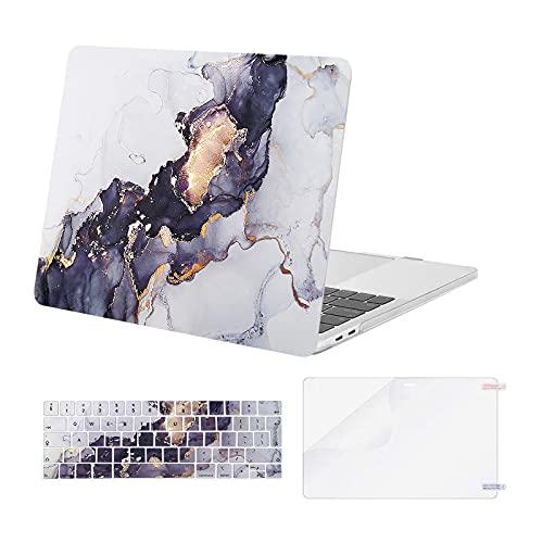 MOSISO Compatibile con MacBook PRO 13 Pollice Case 2016-2020 Uscita A2338 M1 A2289 A2251 A2159 A1989 A1706 A1708, Plastica Rigida Shell & Tastiera Skin Cover & Proteggi Schermo, Marmo Grigio Nero