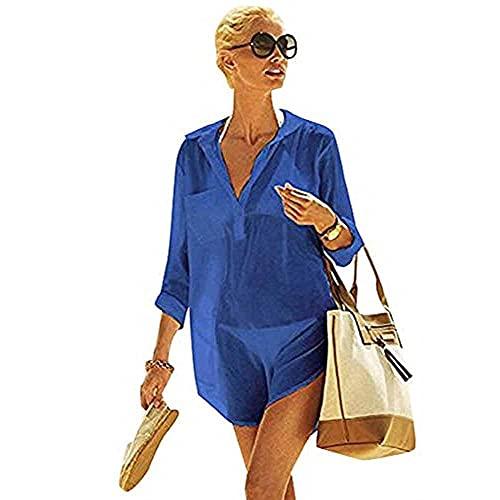 TBSCWYF Vestido Suelto de Bikini Mujer Ropa de Baño Playa Traje de Baño Vestido de Playa Blusas Chales Bikini Camisolas Verano Blusa de Playa con Abrigo de Color Liso (Azul)