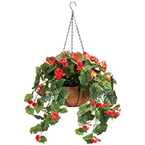 """OakRidge Miles Kimball Fully Assembled Artificial Begonia Hanging Basket, 10"""" Diameter and 18"""" Chain – Coral Polyester/Plastic Flowers in Metal and Coco Fiber Liner Basket for Indoor/Outdoor Use"""