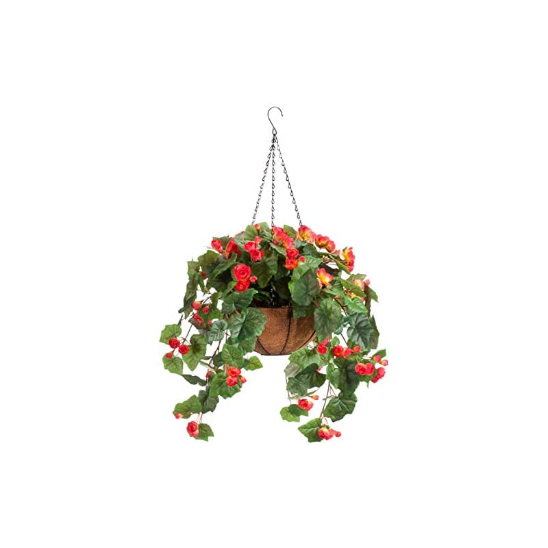 """silk flower arrangements oakridge miles kimball fully assembled artificial begonia hanging basket, 10"""" diameter and 18"""" chain – coral polyester/plastic flowers in metal and coco fiber liner basket for indoor/outdoor use"""