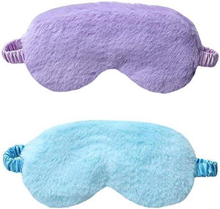 EleCharm New Faux Fur Eye Mask 2PCS Soft Smooth Plush Satin Nap Eye Cover Sleeping Blindfold product image