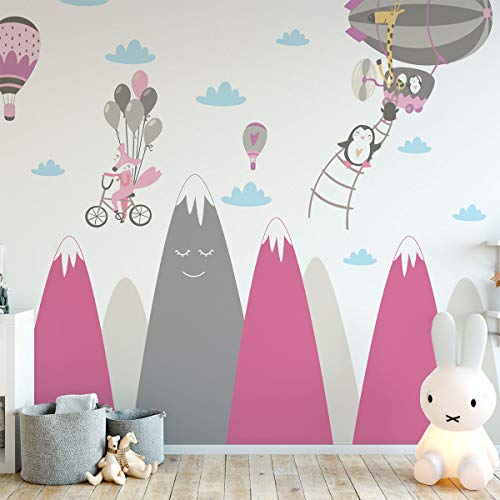 Adhesivo de pared para niños, decoración gigante de montañas escandinavas, para habitación de bebé o animales felizes, 50 x 90 cm