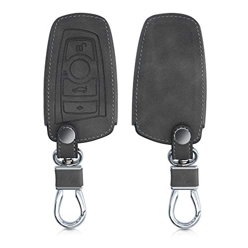 kwmobile Autoschlüssel Hülle kompatibel mit BMW 3-Tasten Funk Autoschlüssel (nur Keyless Go) - Nubuklederoptik - Kunstleder Schutzhülle Schlüsselhülle Cover - Dunkelgrau