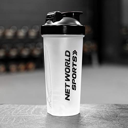 FORZA 700ml Protein Shaker Bottle - BPA Free Sports Drink Shaker Bottle with Non-Leak Cap (Black, Pack of 1)