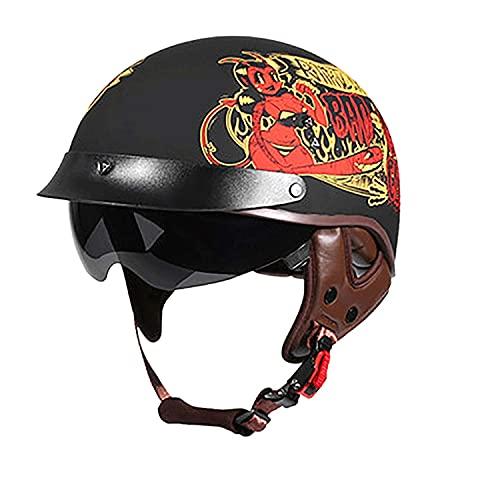 ACEMIC Casco de motocicleta de cara abierta con visera de sol Cruiser Scooter casco de moto Crash casco para hombres y mujeres certificación DOT/ECE C, L