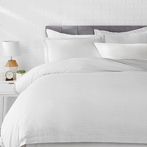 Amazon Basics Light-Weight Microfiber Duvet Cover Set with Snap Buttons - Full/Queen, Grey Crosshatch