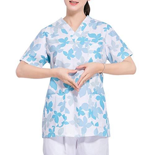 PRETYZOOM Peelings Algodn Medicinal Uniforma Mujeres V Cuello fijo Peeling Top enfermera Algodn Peelings Disfraz para enfermera mdico traje de trabajo (Rosa Tamao S)