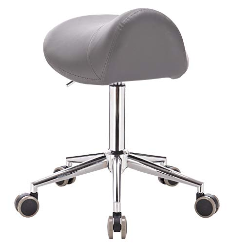 1stuff® Sattelhocker Rollhocker Fury - Sitzhöhe ca. 53-72cm - große Sitzfläche - große PU Rollen - bis 180kg - Sattelstuhl Praxishocker Drehhocker Kosmetikhocker (dunkelgrau)