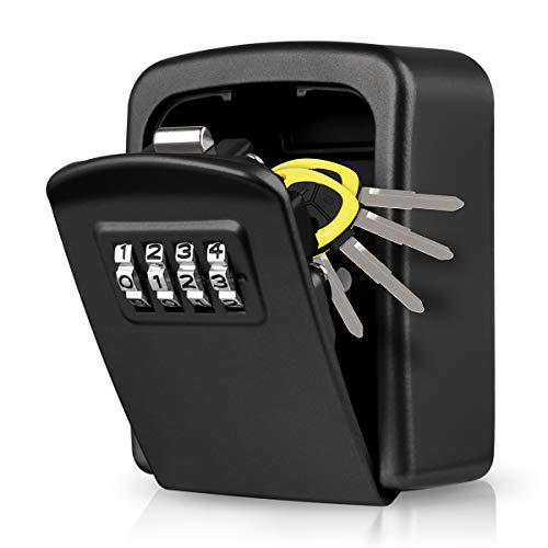 LUROON Schlüsselsafe Speicher Schlüsselkasten mit Zahlencode Mini Verschluss Kasten Schlüssel Wandmontage Zinklegierung Wasserdicht Rostfrei Innen Außenbereich für Haus Garagen Schule (Schwarz)