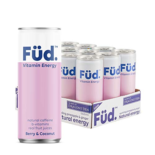 Brain Füd Vitamin Energy Drink, Fruity Sparkling Water with Natural Caffeine, B-Vitamins & Electrolytes 250 ml 12-Pack (Berry & Coconut)