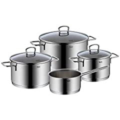 Silit Alicante Set en pot 4 parties, Pots avec couvercle en verre, Casseroles à induction, acier inoxydable poli, casserole induction, induction de pot, non encensé, approprié au four