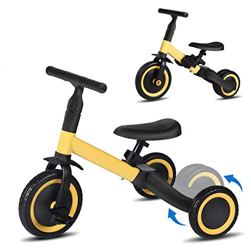 LINKLIFE 3 in 1 Kids Trike for Children 1-3 Years Old Kids Tricycle Boys Girls Baby Balance Bike 2 Wheels for Toddlers Tricycle with Removable Pedals (Yellow)