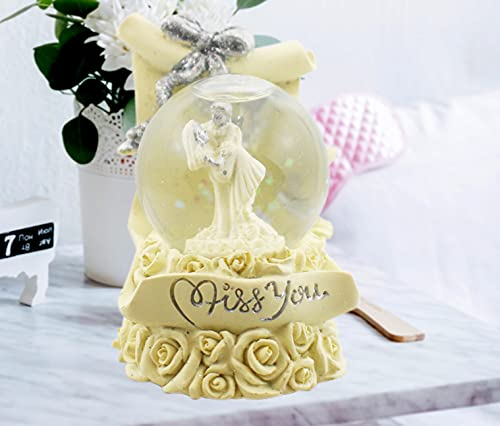 Devavrata Creations Love Couple Miss You Statue in LED Light Crystal Ball with Inside Snow Globe Decor in Golden Leaf Showpiece for Valentine Gift (Gold)