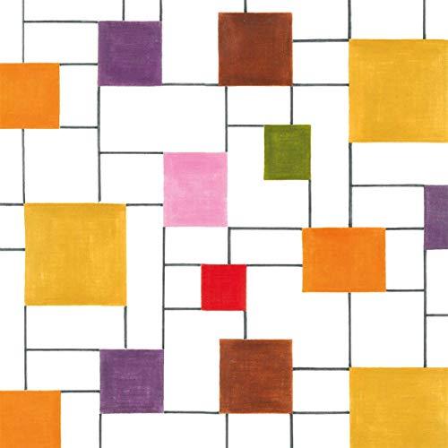 Servilletas (juego de 2/40 unidades) de 3 capas, 33 x 33 cm, diseño de azulejos de colores