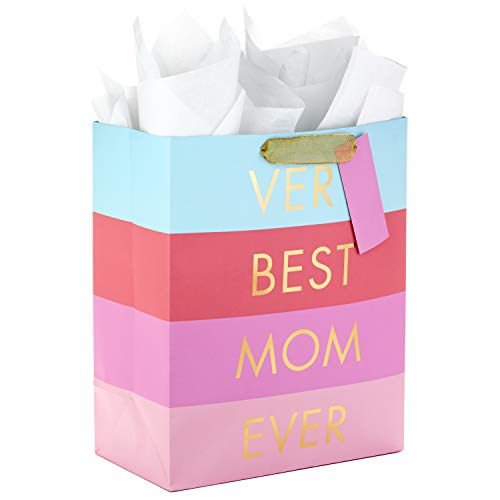 Hallmark 13' Large Mother's Day Gift Bag with Tissue Paper ('Very Best Mom Ever' - Blue, Lavender...