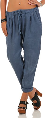 Malito Damen Hose aus Leinen | Stoffhose in Unifarben | Freizeithose für den Strand | Chino - Jogginghose 6816 (Jeansblau, M)