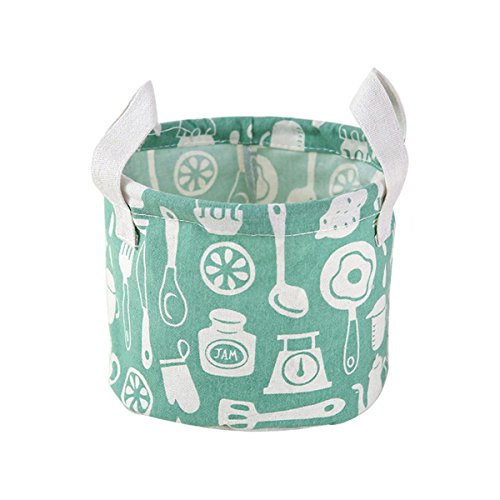 Foldable Storage Bag Cotton Fabric Collapsible Laundry Basket Dirty Clothes HamperGreen