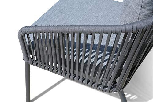 GRASEKAMP Qualität seit 1972 Lounge Sitzgruppe 4 teilig mit dicken Kissen Grau Coffee Set Arezzo Aluminium Loungeset Garten Sitzgruppe Loungemöbel - 3