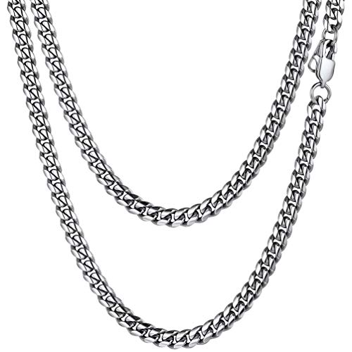 PROSTEEL Stainless Steel Cuban Chain Necklace 20inch 6MM Men Link Curb Chain Xmas Gifts