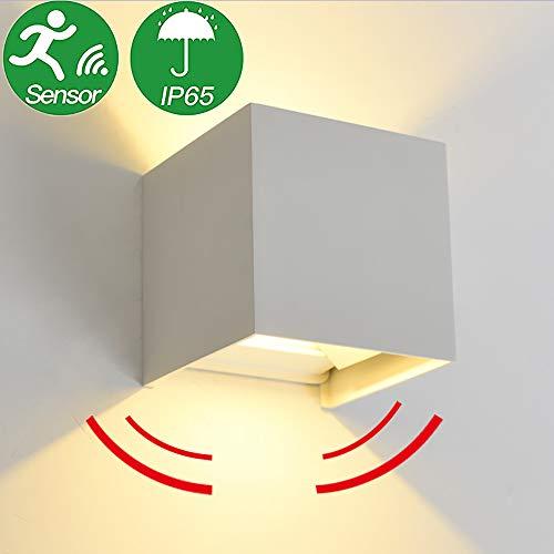 Aplique de Pared LED 7W Lámpara de Pared, con Detector de movimiento, Encendido y apagado automático, uso en interiores/exteriores a prueba de agua (Blanco - Blanco cálido 3000K)