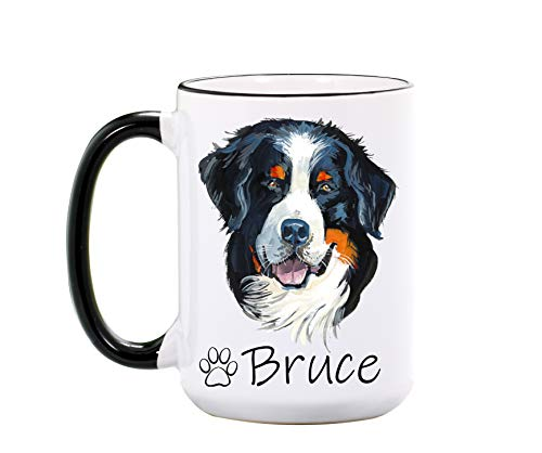 Bernese Mountain Dog Mug - Personalized 15 oz or 11 oz Ceramic Mugs -Pet Owner Gifts for Women - Dog Lover Gifts for Dog Lovers - Dog Mugs - Pet Cups - Dishwasher & Microwave Safe - Made In USA