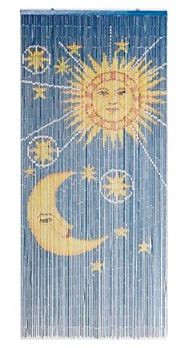 TACHILC Sun and Moon Bamboo Bead Curtain, Doorway Hanging Beads, Bamboo Door Beads 35.5 inches x 78 inches, 90 Strands