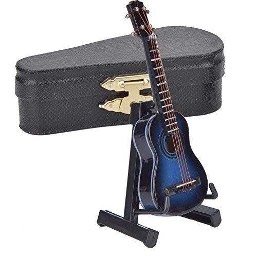 Modelo de guitarra en miniatura Guitarra de madera Mini adornos de instrumentos musicales Regalo de cumpleaños para profesores extranjeros o amigos masculinos y femeninos (Azul)