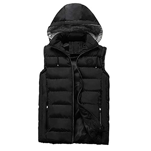 Kaniem Down Jacket,Mens Winter Thick Insulated Vest Jacket Hooded Coat Zipper Pockets Puffer Jacket (L, Black)