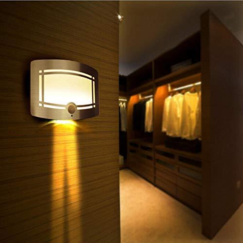 Wandlamp Led binnen, wandlamp met bewegingsmelder/fotocelschakelaar, aanraakschakelaar op batterijen wandlamp, warmwit wandverlichting nachtlampje, 150 * 110 * 45 mm