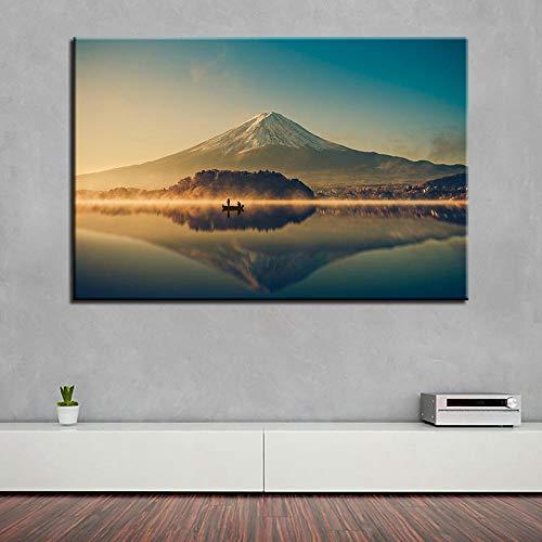 wZUN Cuadro en Lienzo decoración de la Sala de Estar Arte de la Pared Pintura del Monte Fuji Impresiones en HD Hermoso Cartel del Lago volcánico 60x90cm Sin Marco