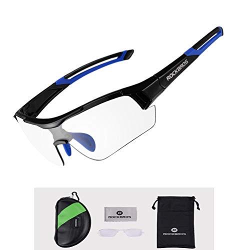 ROCKBROS Radbrille Sonnenbrille Photochromatische Polarisierte Brille Halbrahmen UV-Schutz Ultralleicht(Blau)