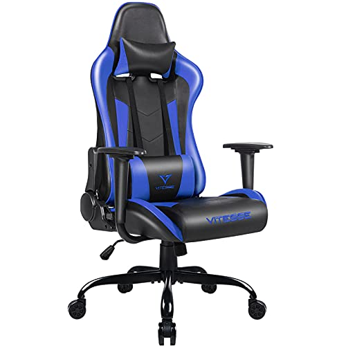 PUKAMI High Back Gaming Chair Blue Gamer Chair Ergonomic Racing Chair with Comfortable Lumbar Support and Headrest Computer Desk Chair with Height Adjustable Swivel Office Chair PU Leather Chair,Blue