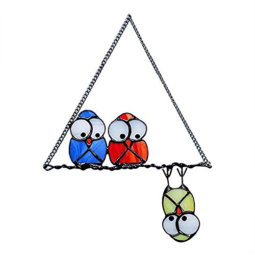 JIUA 5 PCS Vogel Ornamente Für Fenster, Modern Style Home Decor Artikel Spring Bird Fun Bird Group Gemalte Fenster Dekoration Wand Raum Innen- Und Außen Ornamente (Farbe : Blau)