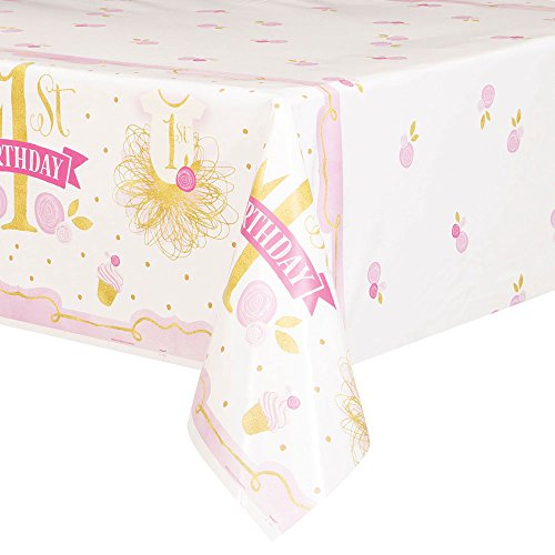 Mantel de Plástico - 2,13 m x 1,37 m - Fiesta de Primer Cumpleaños para niña Rosa y Dorado