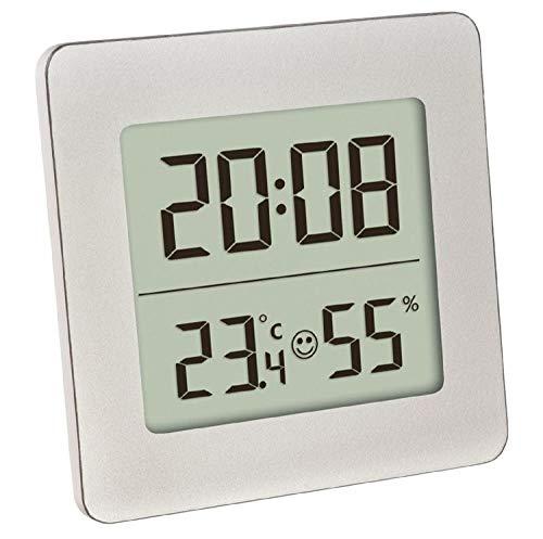 TFA Dostmann Digitales Thermo-Hygrometer, Innentemperatur, Luftfeuchtigkeit, Uhrzeit und Datum, gesundes Raumklima