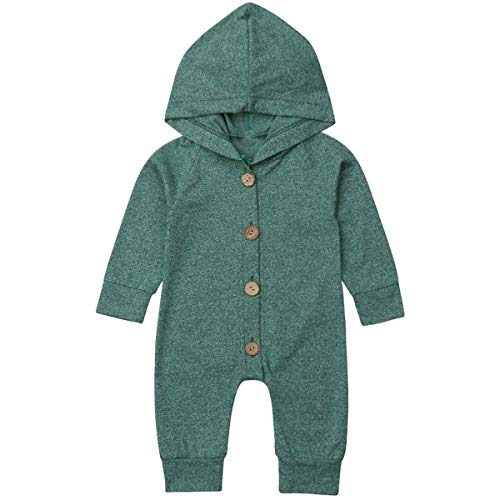 Newborn Kids Baby Boys Cute Solid Color Long Sleeve Hooded Romper Jumpsuit Top Outfits Clothes Green