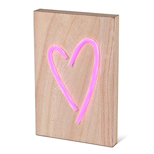 Lone Elm Studios 7.625' L Wood LED Heart Home Decor, 8.25InL x 2InW x 12.2InH, Pink