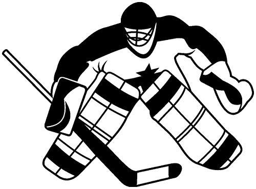 Samunshi® Wandtattoo Eishockeytorwart Wandaufkleber Goalie in 5 Größen und 19 Farben (65x49cm schwarz)