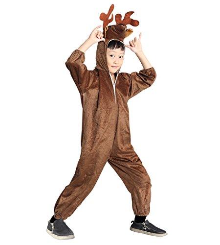 An74 Taglia 3-4A (98-104cm) Costume da Cervo Renna per bambini, indossabile comodamente sui vestiti normali