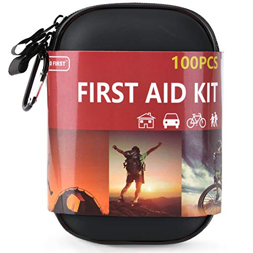 TIANBO FIRST 100 Pieces Hard Shell Mini Compact First Aid Kit, Small Personal Emergency Survival Kit for Travel Hiking Camping Backpacking Hunting Car, Black