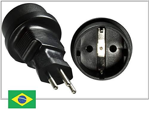 DINIC Reisestecker, Stromadapter für Brasilien auf Schutzkontakt-Buchse, 3-Pin Netzadapter (1 Stück, schwarz)