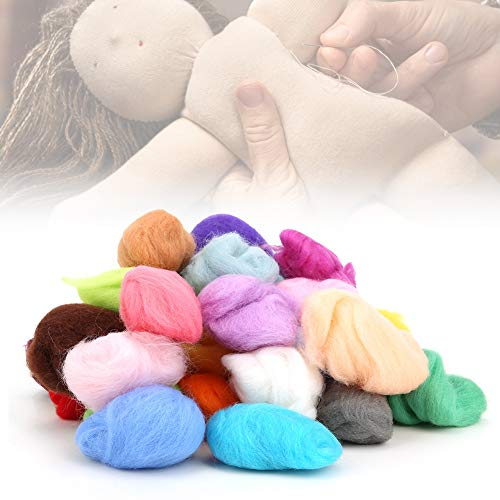 Ichiias Nadeln Wollset, Bastelwerkzeug Sicheres Geschenk Nadelfilz Wolle Roving Set, Weichfaserwolle 36 Farben für Nadelfilze Nasse Filze