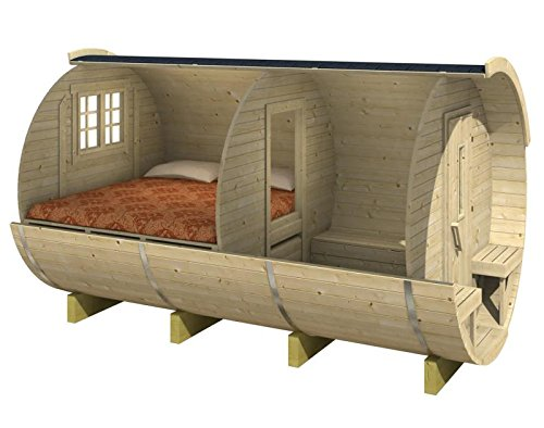 Holzgartenhaus Holzfass rund mit Bett
