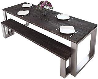 Table de salle à manger carrée en acier inoxydable   Fabriquée à la main en bois massif recyclé de style loft industriel